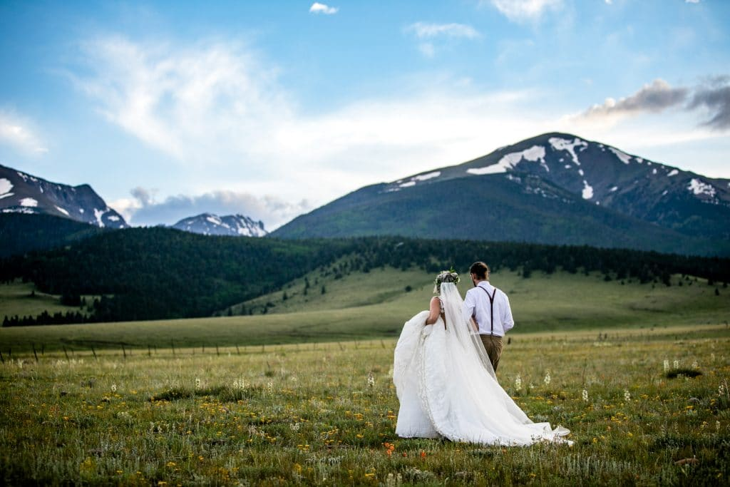 Bride and Groom with Colorado Mountains